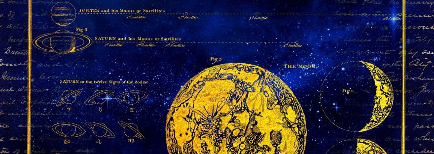Blue background with golden moon in various phases. Some faded gold writing as well.