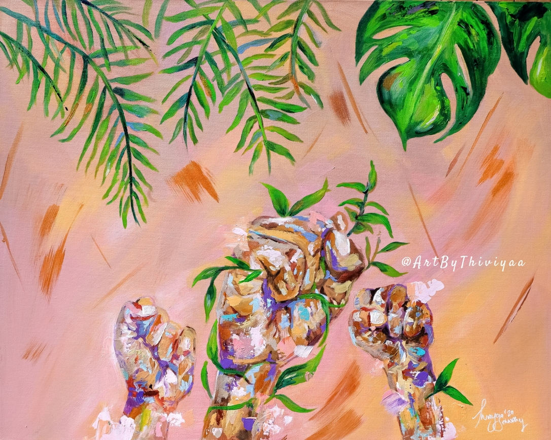 Painting of 3 fists in the air, with leaves entangled in them. Leaves on the top of the canvas